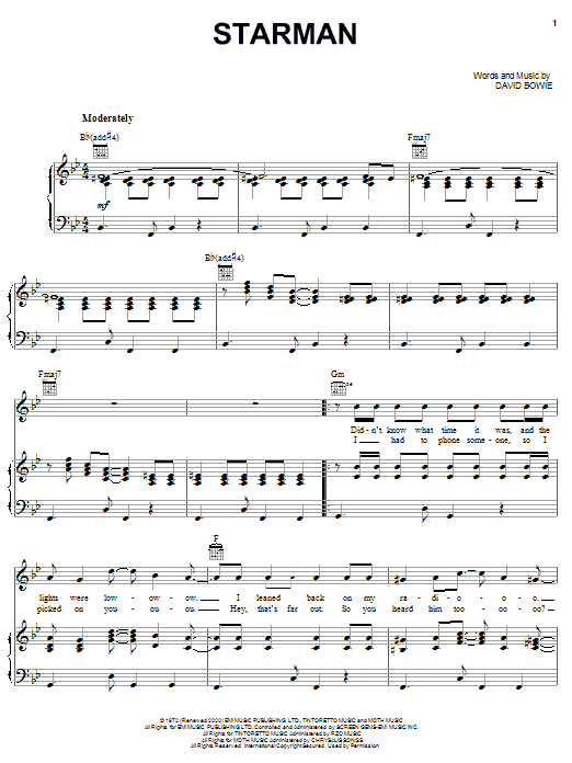 David Bowie Starman sheet music notes and chords. Download Printable PDF.