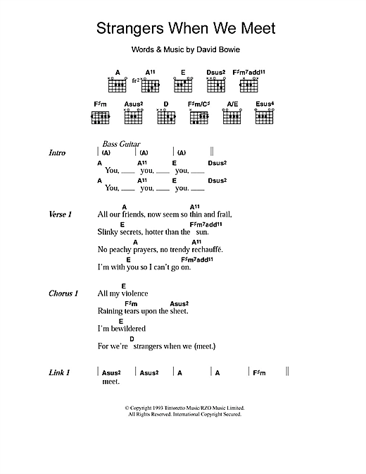 David Bowie Strangers When We Meet sheet music notes and chords. Download Printable PDF.