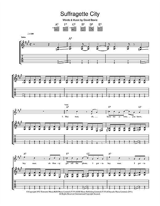 David Bowie Suffragette City sheet music notes and chords. Download Printable PDF.