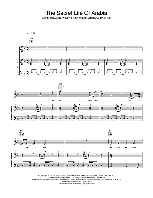 David Bowie The Secret Life Of Arabia sheet music notes and chords. Download Printable PDF.
