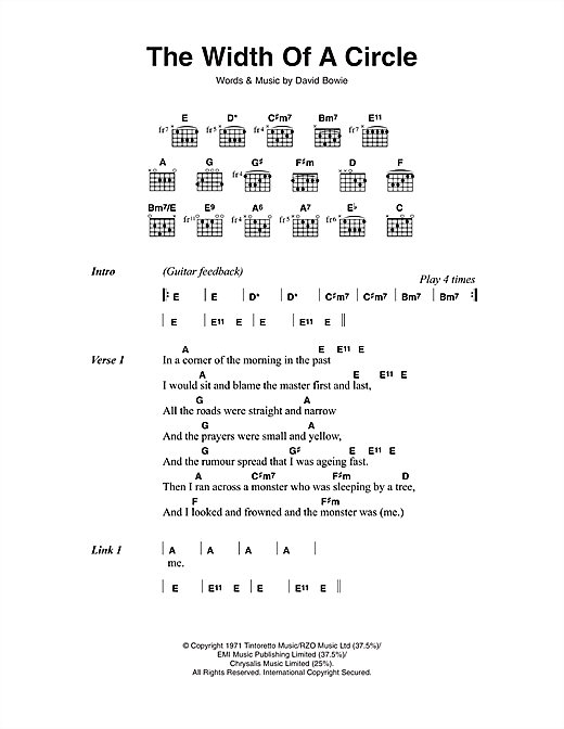 David Bowie The Width Of A Circle sheet music notes and chords. Download Printable PDF.