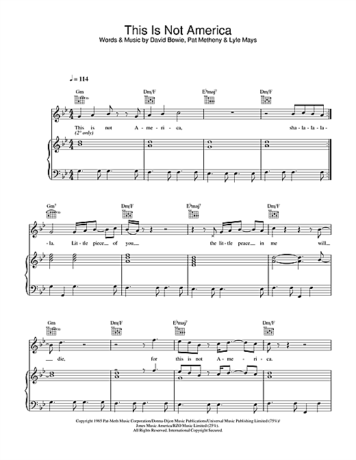 David Bowie This Is Not America sheet music notes and chords. Download Printable PDF.