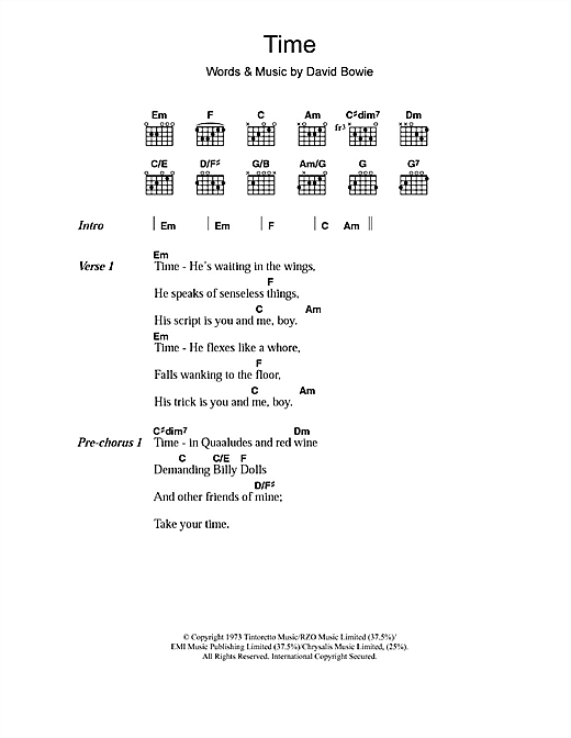 David Bowie Time sheet music notes and chords. Download Printable PDF.