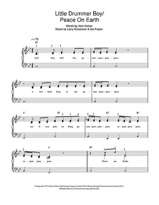 David Bowie & Bing Crosby Peace On Earth / Little Drummer Boy sheet music notes and chords. Download Printable PDF.