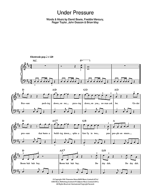 David Bowie & Queen Under Pressure sheet music notes and chords