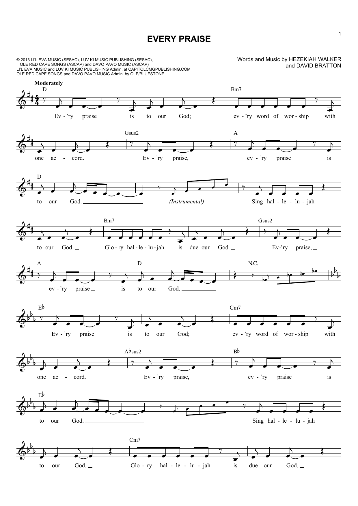 David Bratton Every Praise sheet music notes and chords. Download Printable PDF.