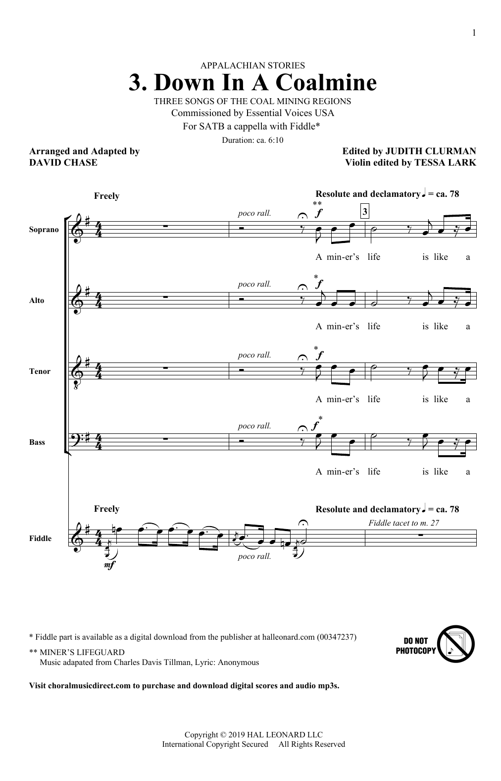 David Chase Down In A Coalmine (No. 3 from Appalachian Stories) sheet music notes and chords. Download Printable PDF.