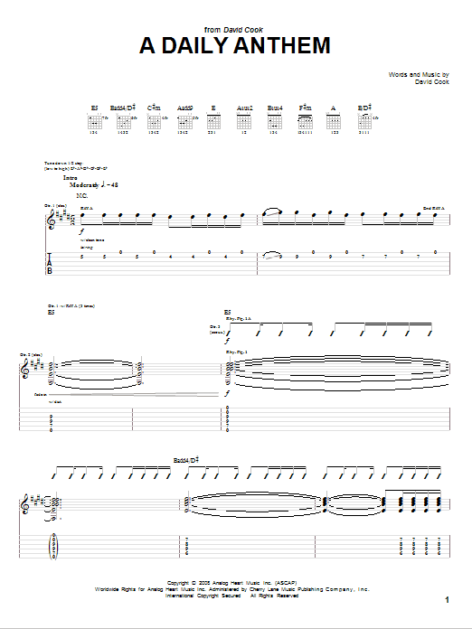 David Cook A Daily Anthem sheet music notes and chords. Download Printable PDF.