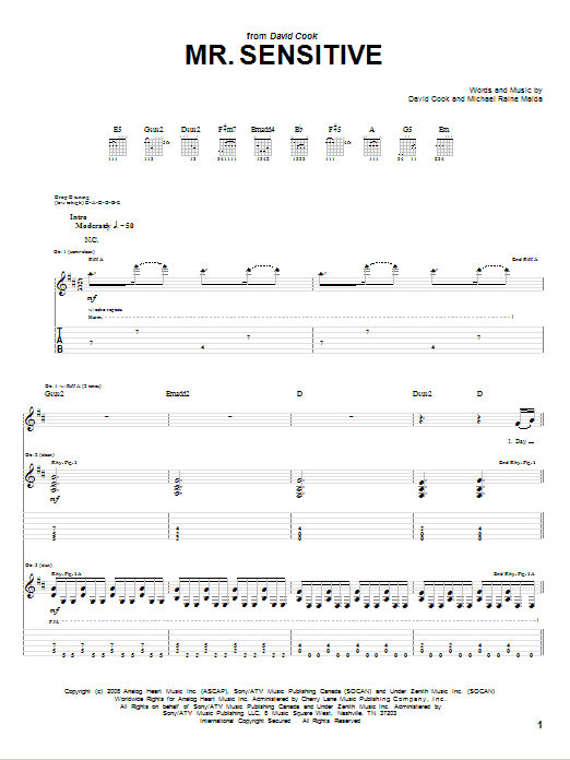 David Cook Mr. Sensitive sheet music notes and chords. Download Printable PDF.