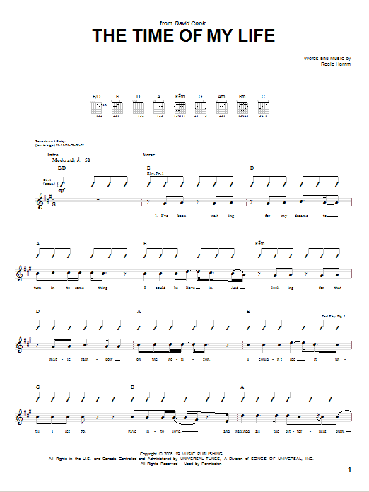 David Cook Time Of My Life sheet music notes and chords. Download Printable PDF.