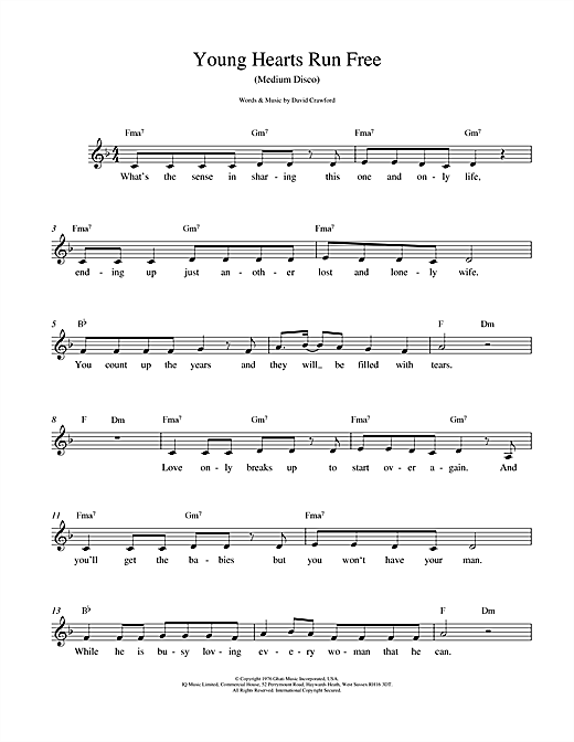 David Crawford Young Hearts Run Free sheet music notes and chords. Download Printable PDF.