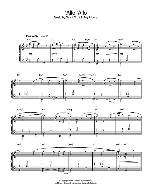 David Croft 'Allo 'Allo sheet music notes and chords. Download Printable PDF.