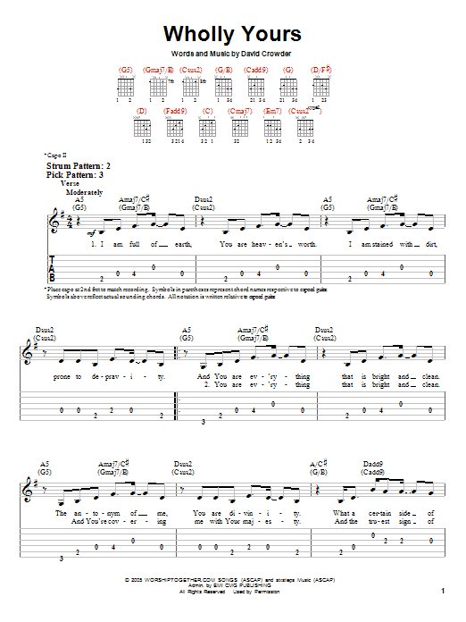 David Crowder*Band Wholly Yours sheet music notes and chords. Download Printable PDF.