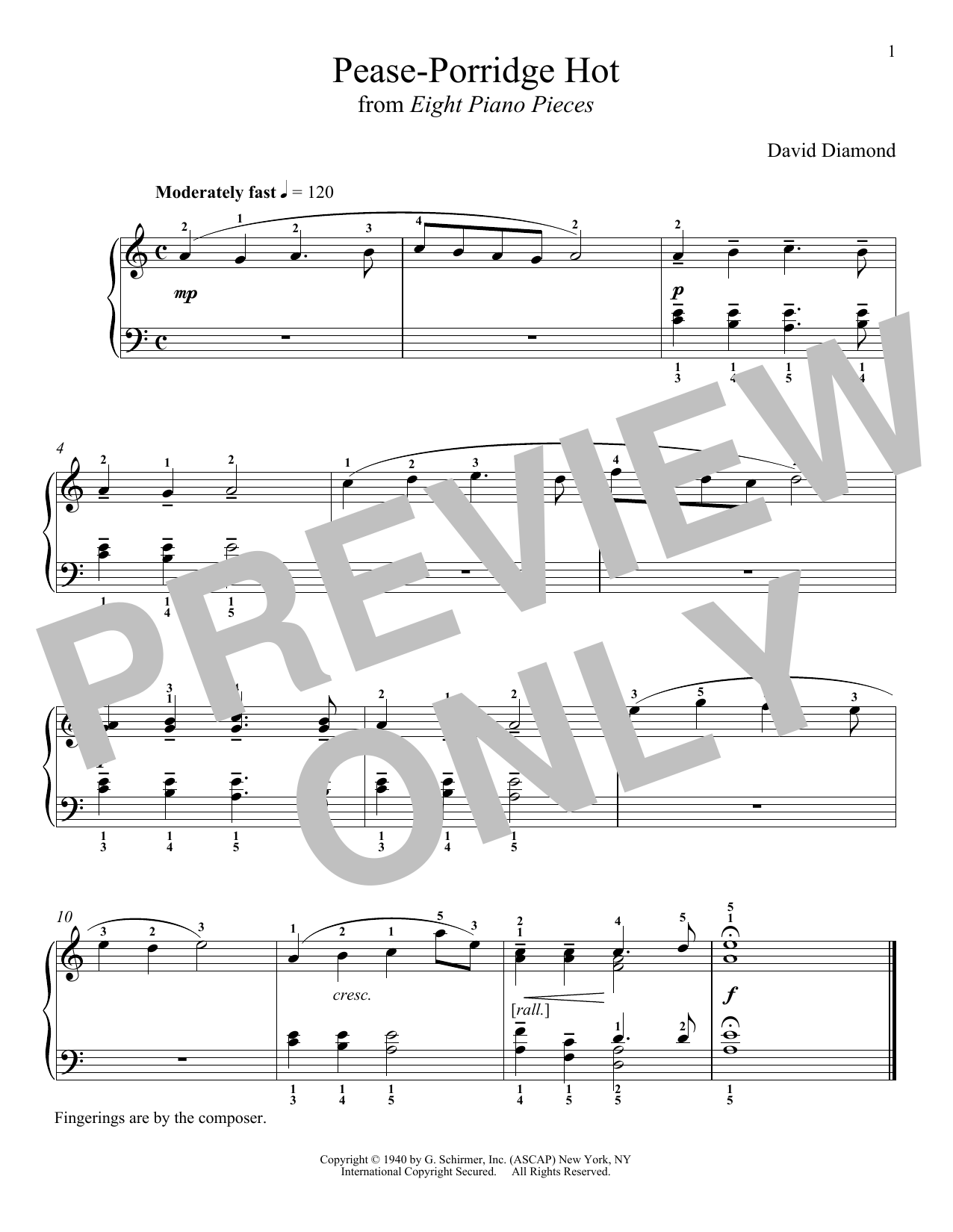 David Diamond Pease-Porridge Hot sheet music notes and chords