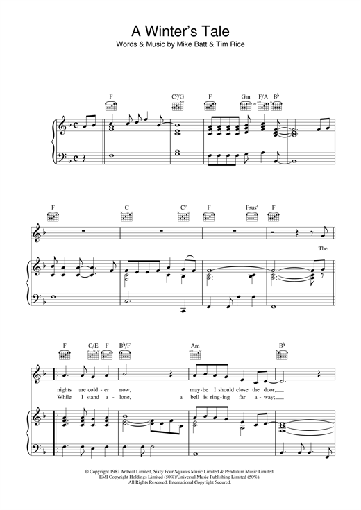 David Essex A Winter's Tale sheet music notes and chords. Download Printable PDF.
