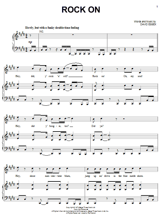 David Essex Rock On sheet music notes and chords. Download Printable PDF.