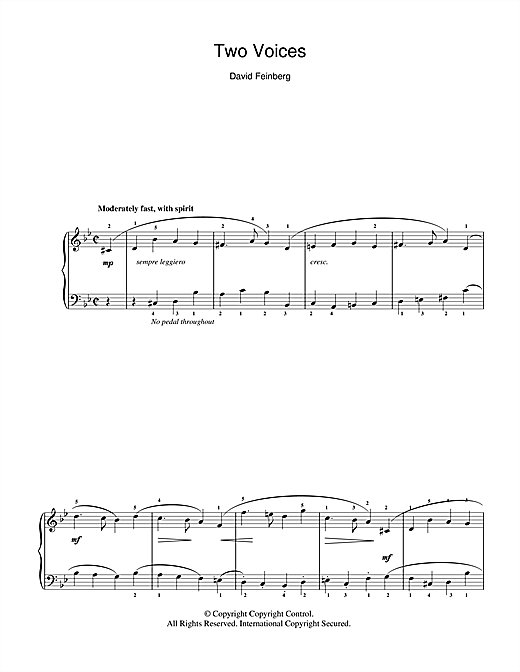 David Feinberg Two Voices sheet music notes and chords. Download Printable PDF.