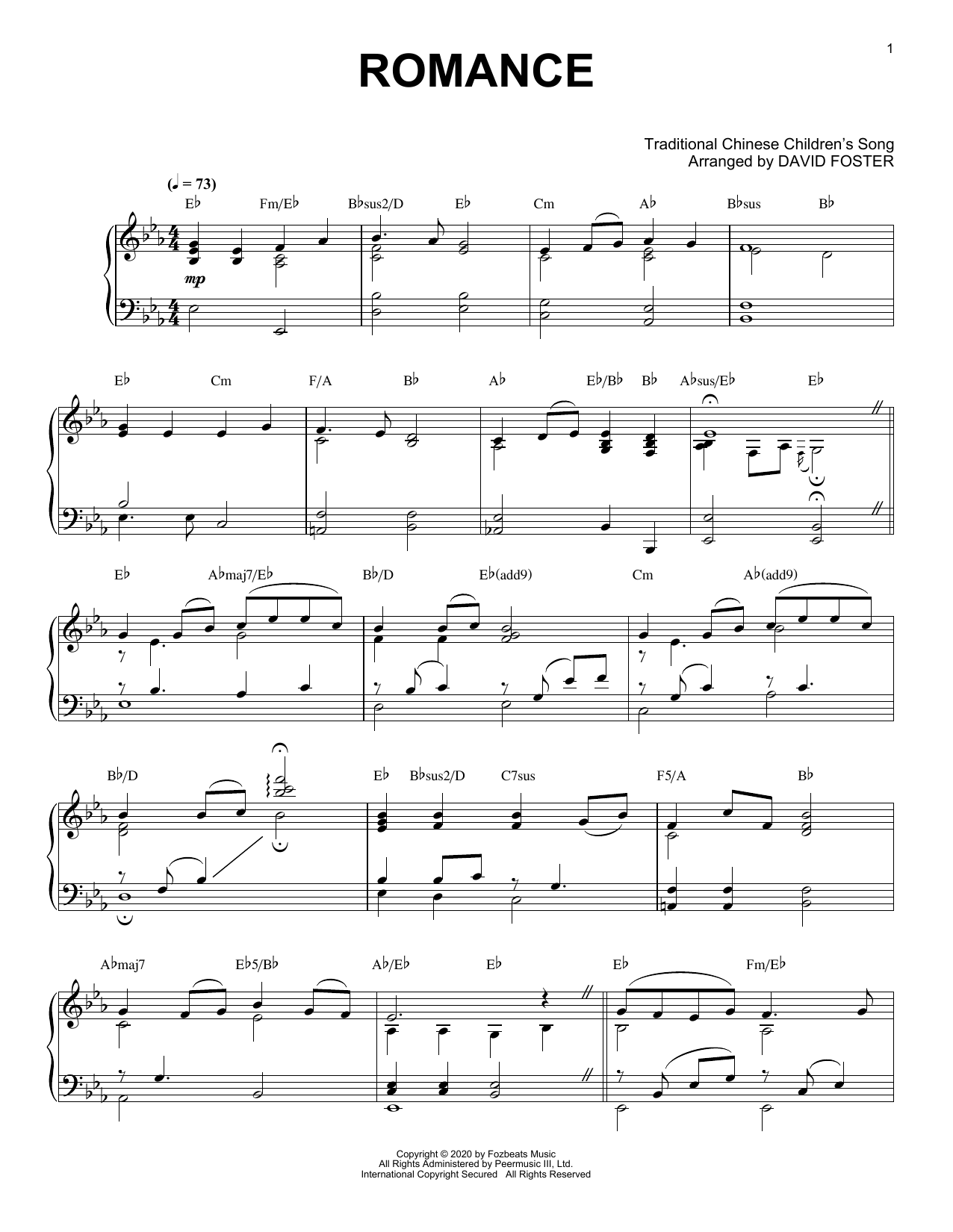 David Foster Romance Sheet Music Pdf Notes Chords Contemporary Score Piano Solo Download Printable Sku 446831