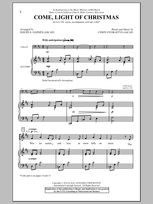 David Gaines Come, Light Of Christmas sheet music notes and chords. Download Printable PDF.