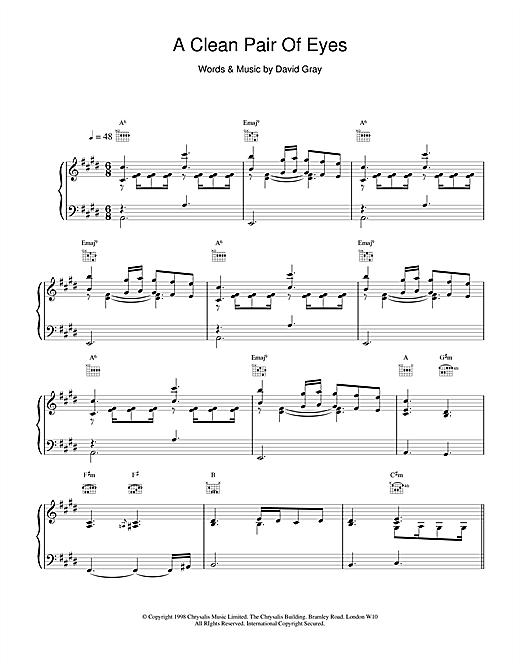 David Gray A Clean Pair Of Eyes sheet music notes and chords
