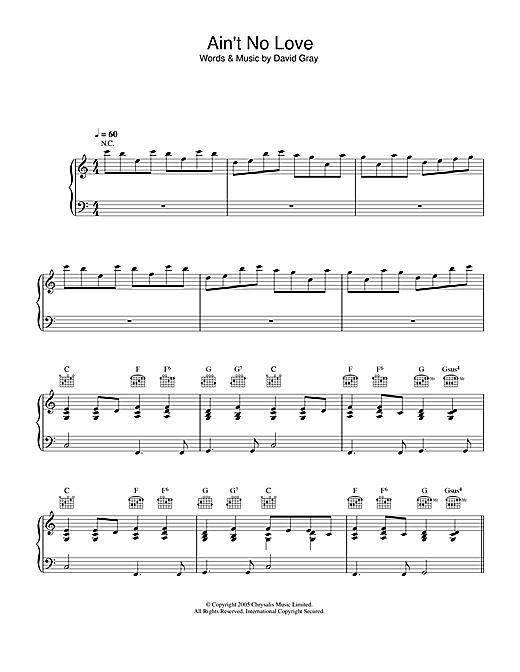 David Gray Ain't No Love sheet music notes and chords. Download Printable PDF.