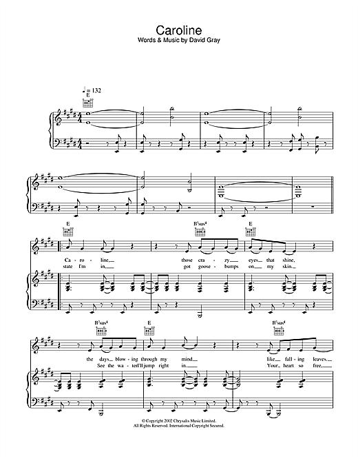 David Gray Caroline sheet music notes and chords. Download Printable PDF.