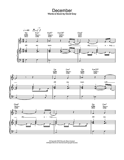David Gray December sheet music notes and chords. Download Printable PDF.