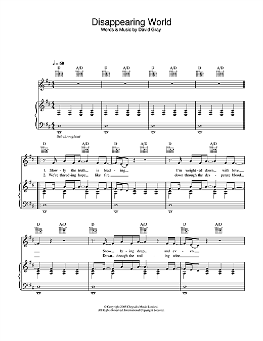 David Gray Disappearing World sheet music notes and chords. Download Printable PDF.