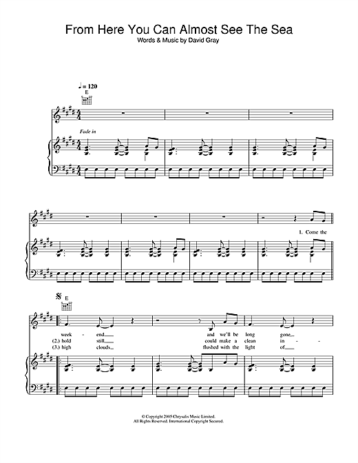 David Gray From Here You Can Almost See The Sea sheet music notes and chords. Download Printable PDF.