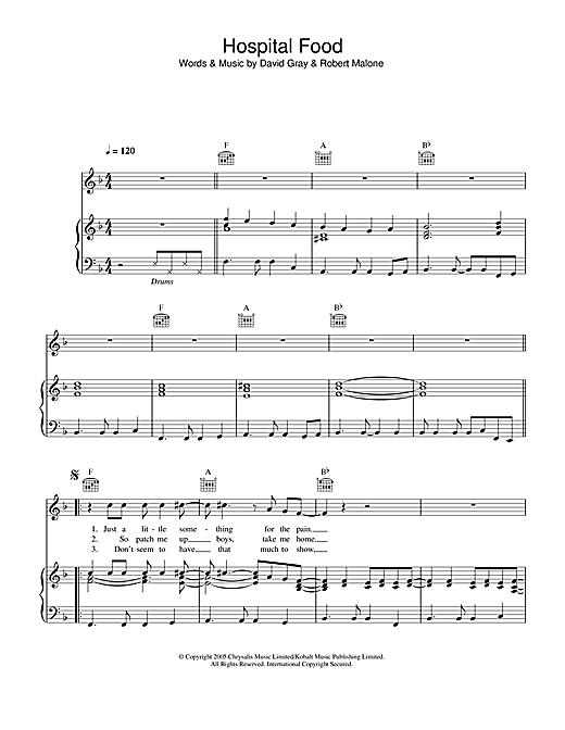 David Gray Hospital Food sheet music notes and chords. Download Printable PDF.