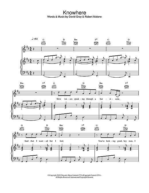 David Gray Knowhere sheet music notes and chords. Download Printable PDF.