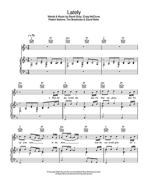 David Gray Lately sheet music notes and chords. Download Printable PDF.