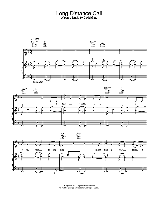 David Gray Long Distance Call sheet music notes and chords. Download Printable PDF.