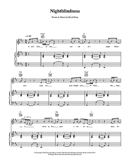 David Gray Nightblindness sheet music notes and chords