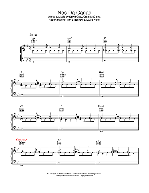 David Gray Nos Da Cariad sheet music notes and chords. Download Printable PDF.
