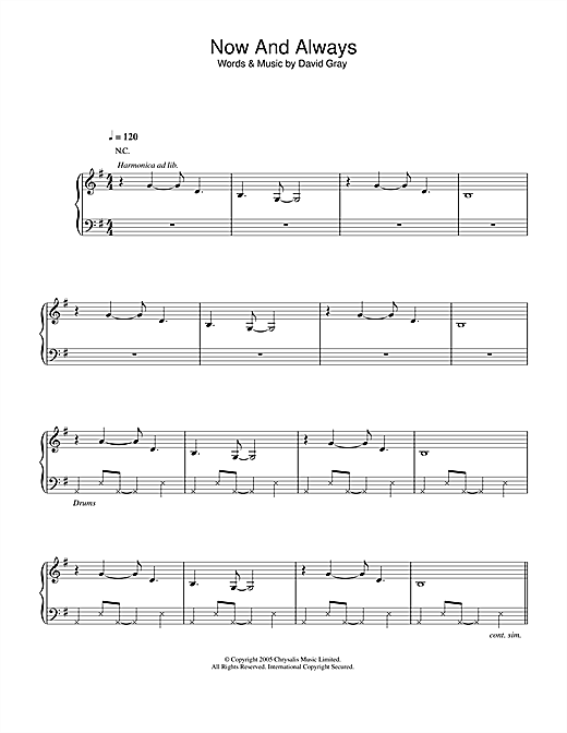 David Gray Now And Always sheet music notes and chords. Download Printable PDF.