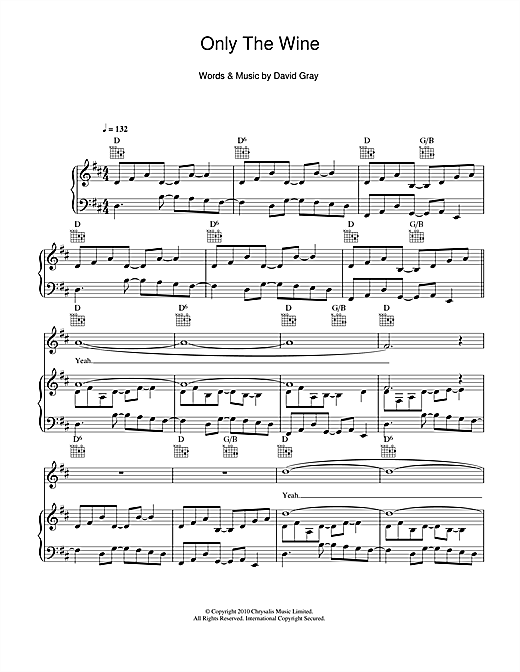 David Gray Only The Wine sheet music notes and chords. Download Printable PDF.