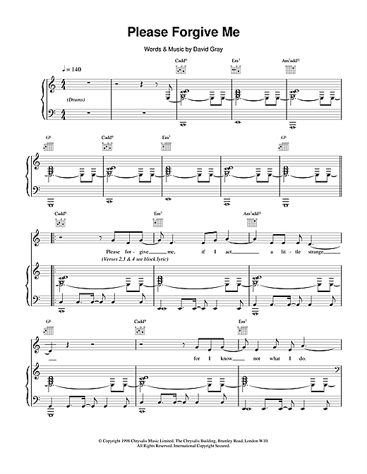 David Gray Please Forgive Me sheet music notes and chords