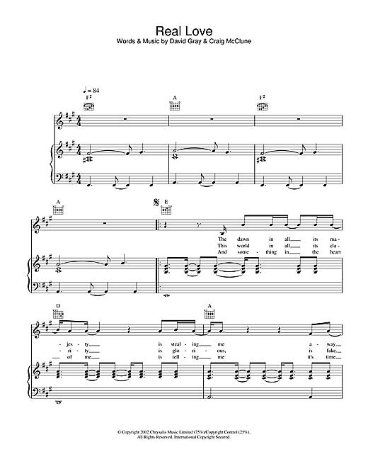 David Gray Real Love sheet music notes and chords