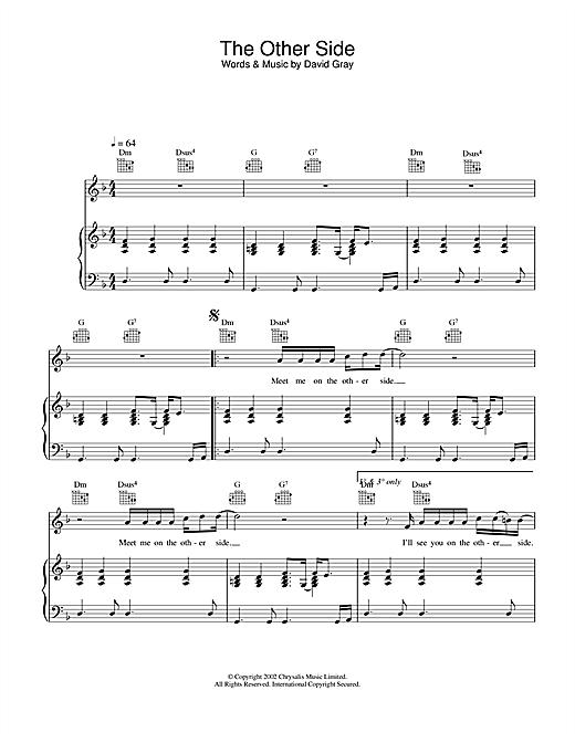 David Gray The Other Side sheet music notes and chords. Download Printable PDF.