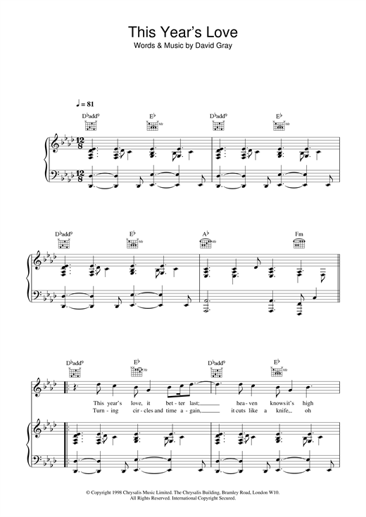 David Gray This Year's Love sheet music notes and chords