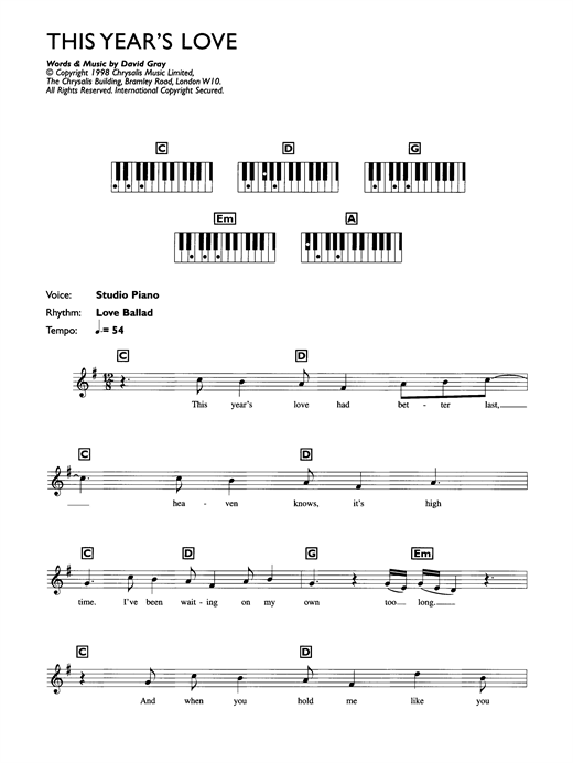 David Gray This Year's Love sheet music notes and chords. Download Printable PDF.