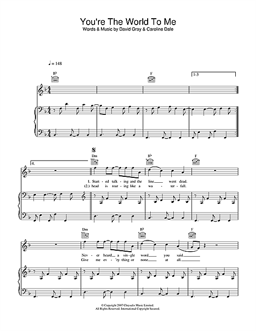 David Gray You're The World To Me sheet music notes and chords. Download Printable PDF.