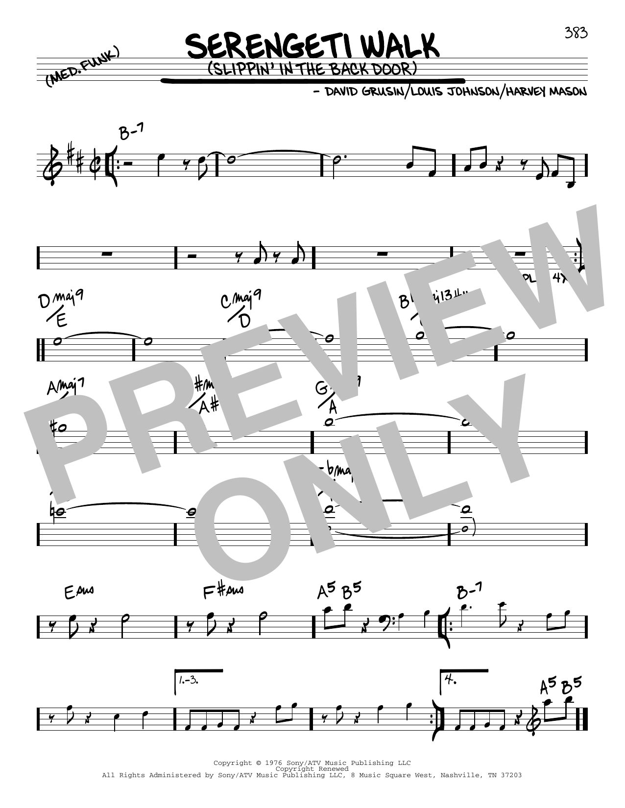 David Grusin Serengeti Walk (Slippin' In The Back Door) sheet music notes and chords. Download Printable PDF.
