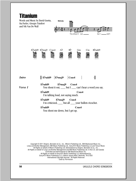 David Guetta Titanium (feat. Sia) sheet music notes and chords