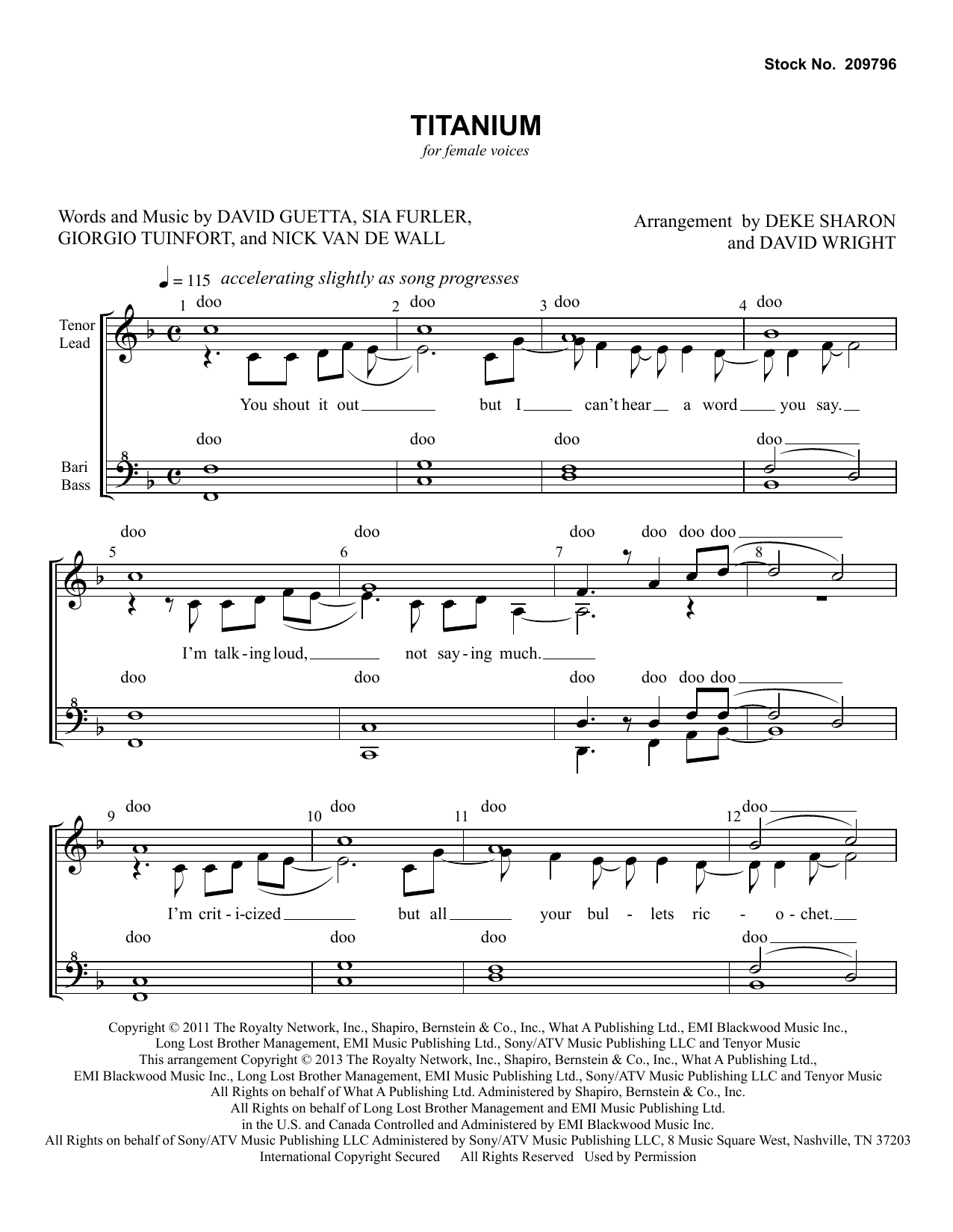 David Guetta Titanium (feat. Sia) (arr. Deke Sharon, David Wright) sheet music notes and chords. Download Printable PDF.