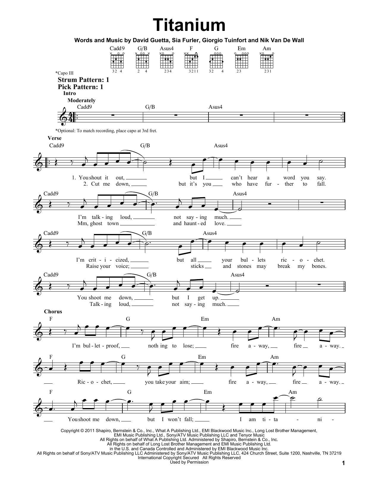 David Guetta Titanium feat. Sia Sheet Music Notes, Chords   Download  Printable Piano, Vocal & Guitar PDF Score   SKU 15