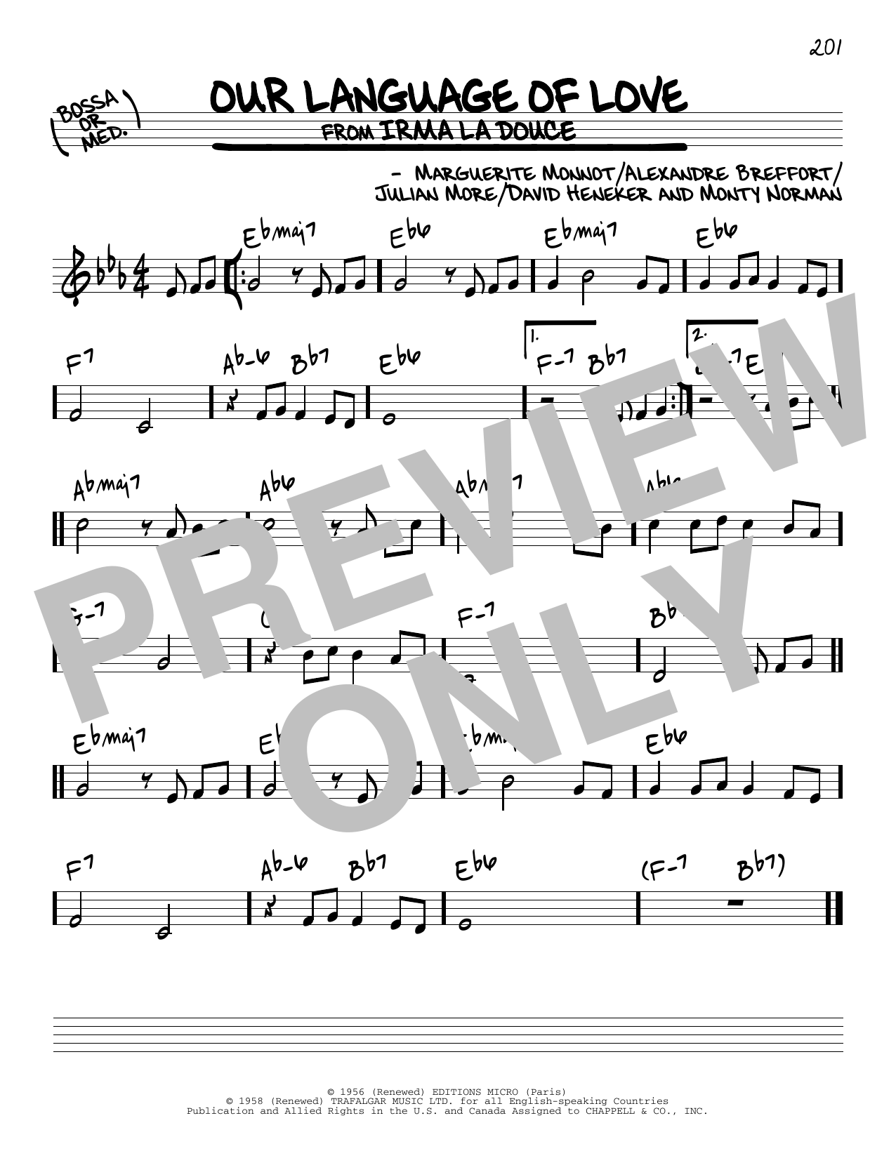 David Heneker Our Language Of Love sheet music notes and chords. Download Printable PDF.