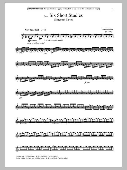 David Horne Six Short Studies, Sixteenth Notes sheet music notes and chords. Download Printable PDF.