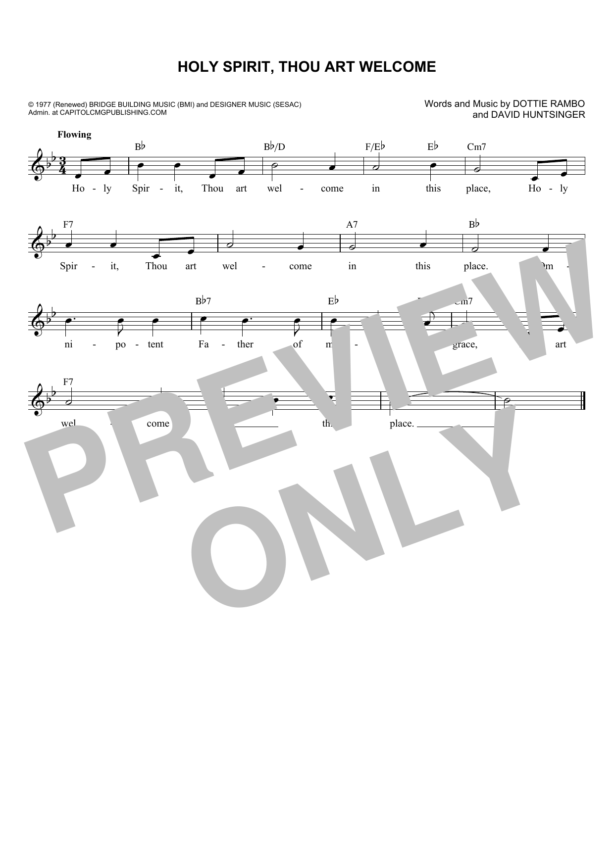 David Huntsinger Holy Spirit, Thou Art Welcome Sheet Music Notes, Chords    Download Printable Piano, Vocal & Guitar Right Hand Melody PDF Score   ...